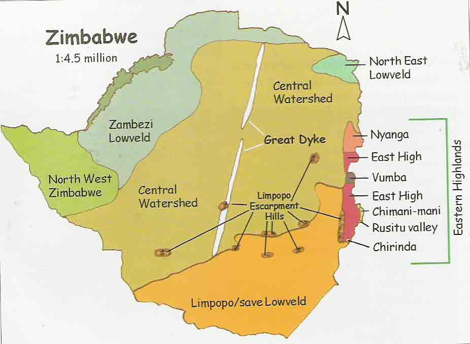 Geograhical areas of Zimbabwe