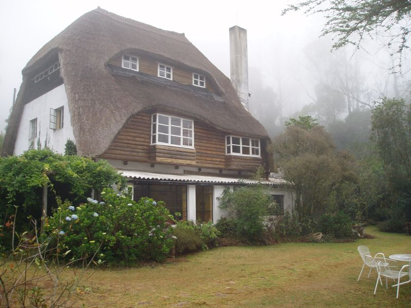 View of Ndundu Lodge on a misty morning in the Vumba