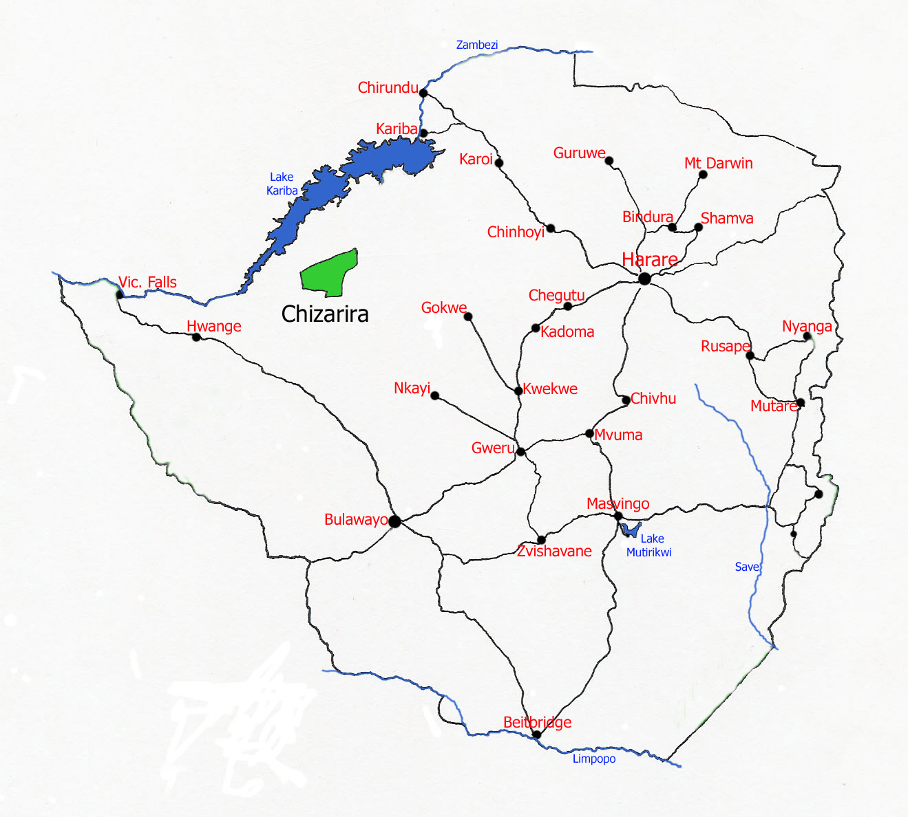 Map showing location of Chizarira National Park
