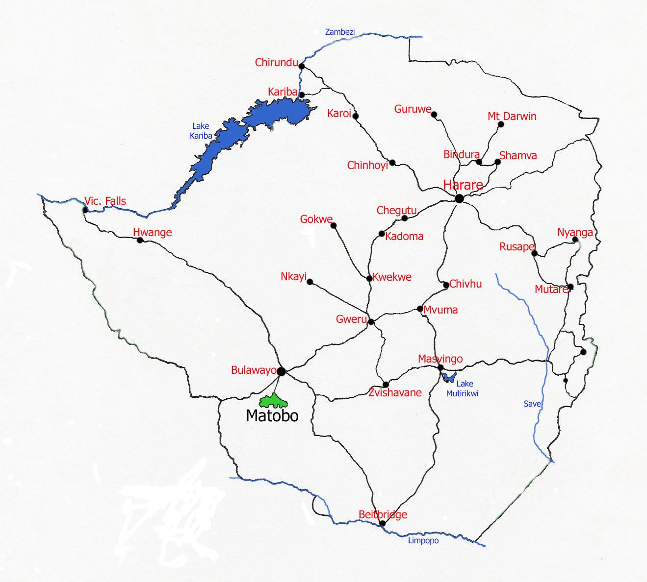 Map showing location Matobo National Park