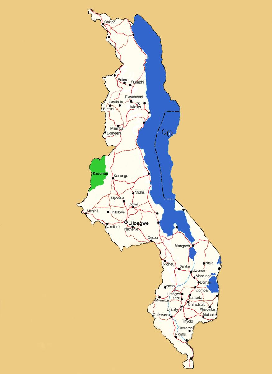 Map showing location of Kasungu National Park