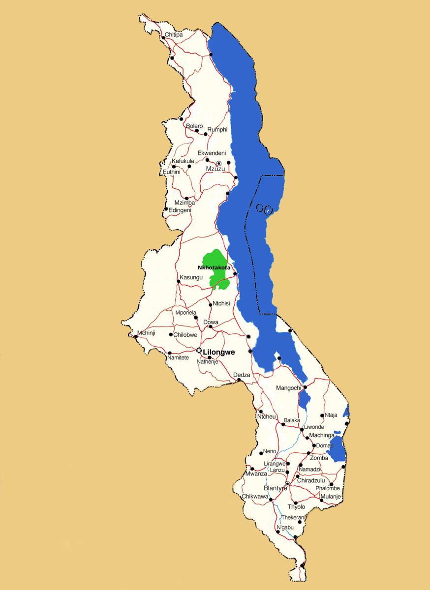Map showing location of Nkhotakota Game Reserve