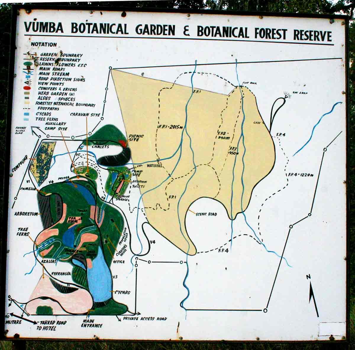 Map of Vumba Botanic Gardens.