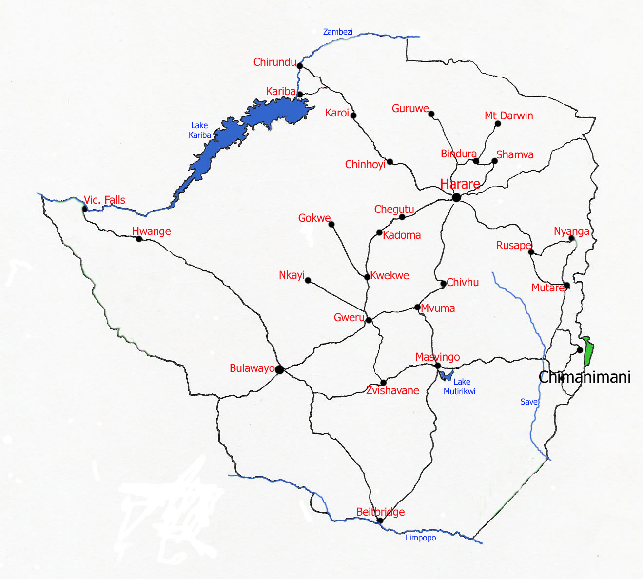 Map showing location of Chimanimani Mts National Park.
