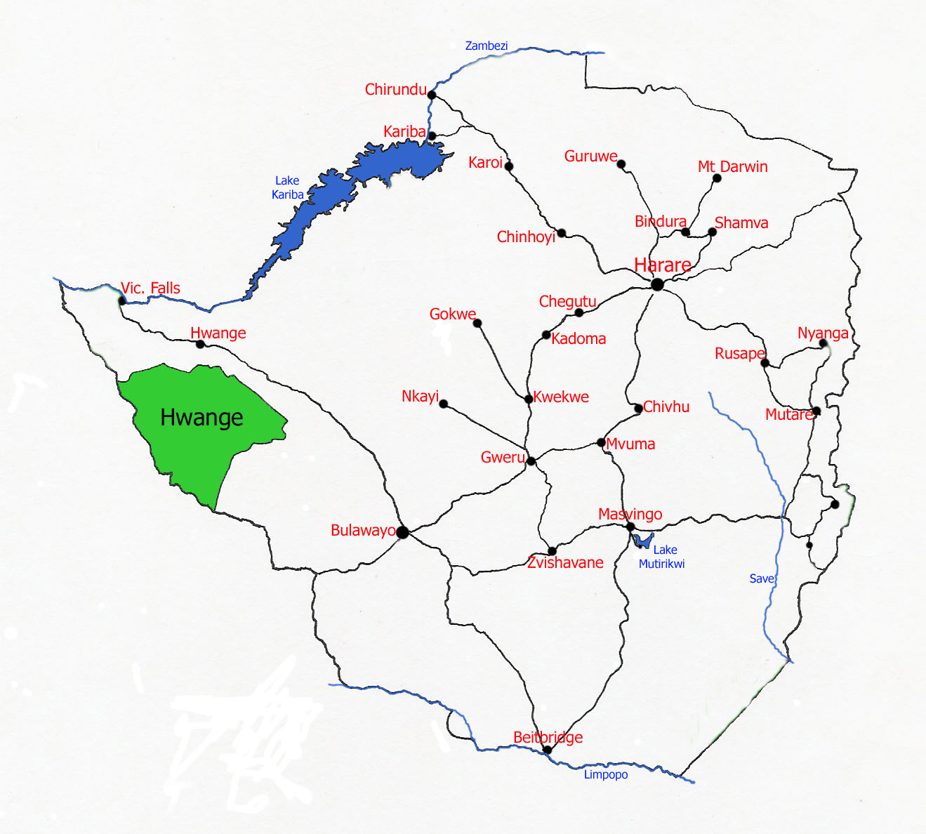 Map showing location of Hwange National Park