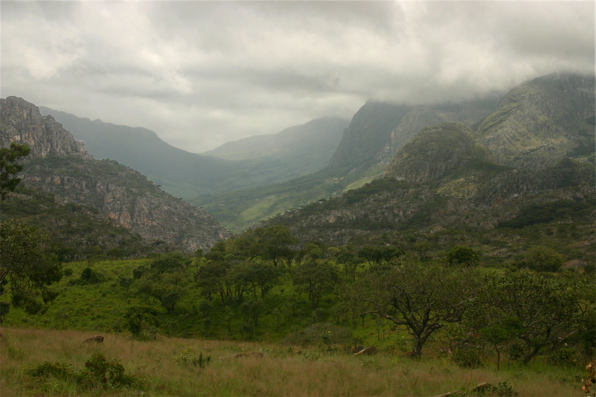 View towards Mozambique with the Musapa Gap and the higher peaks of the Chimanimanis in the background