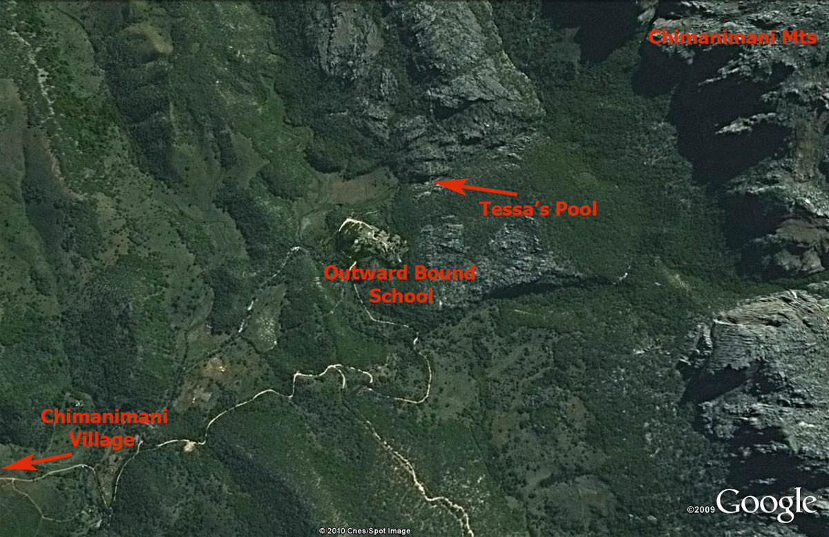 Map of Tessa's Pool and the surrounding area