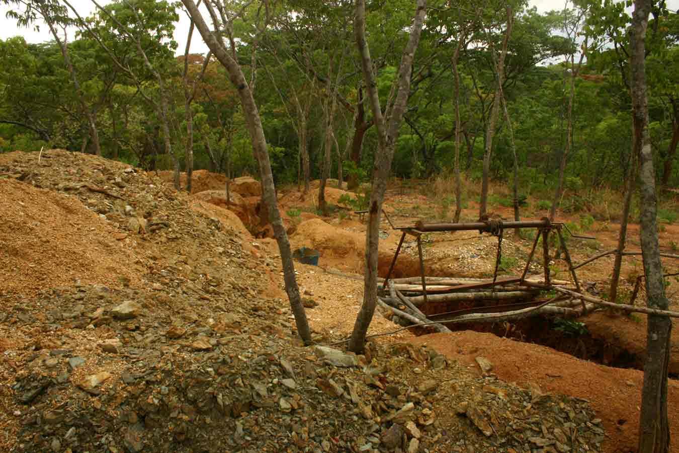 Soil disturbance after gold mining activities