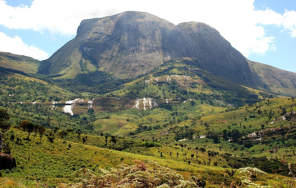 The Impressive monolith of Namuli peak towering above the surrounding highland plateau.