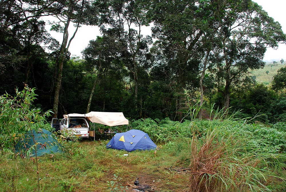 Our modest base camp on the Muqueche River