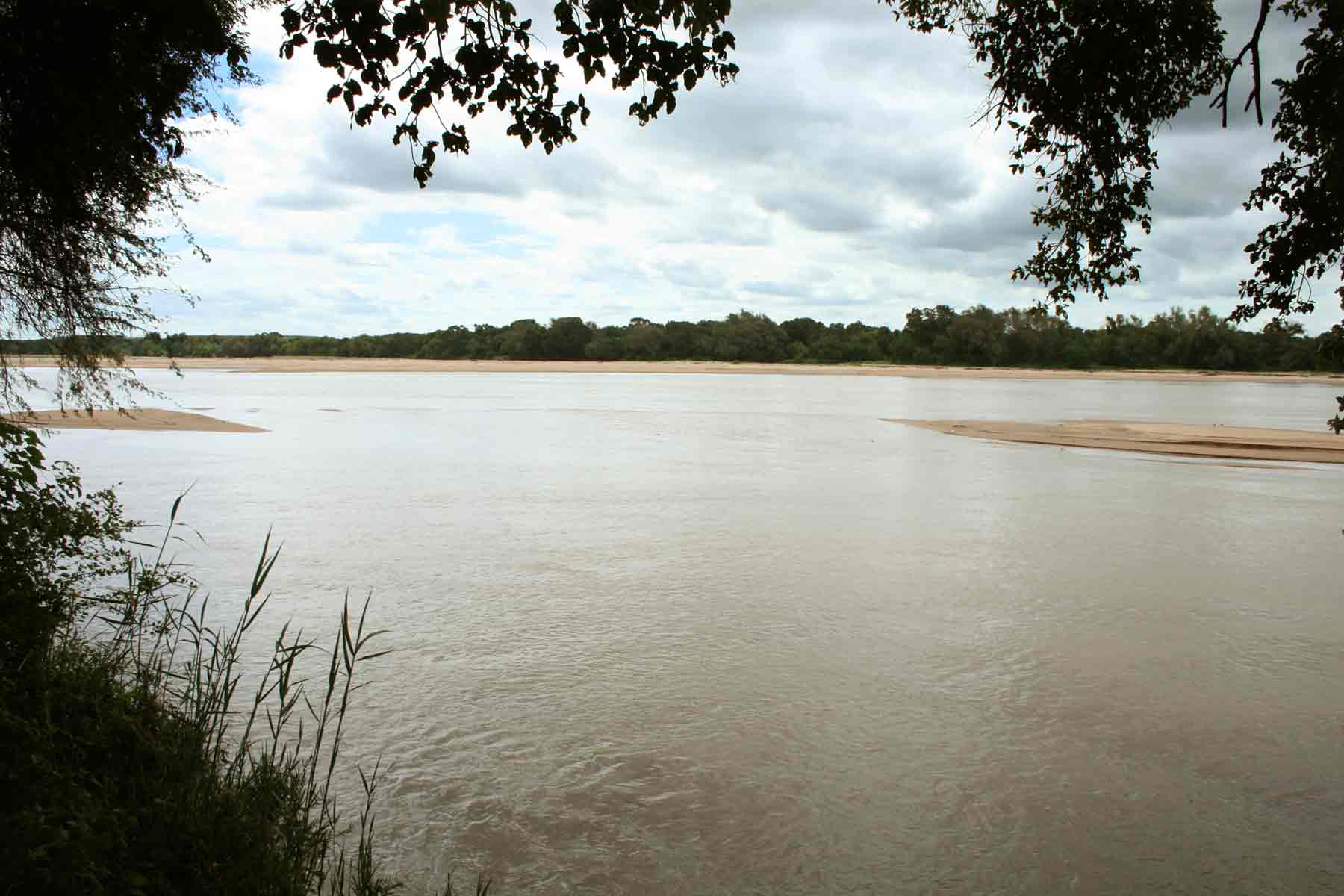 Shashe River in flood; a rare sight in this normally dry environment.