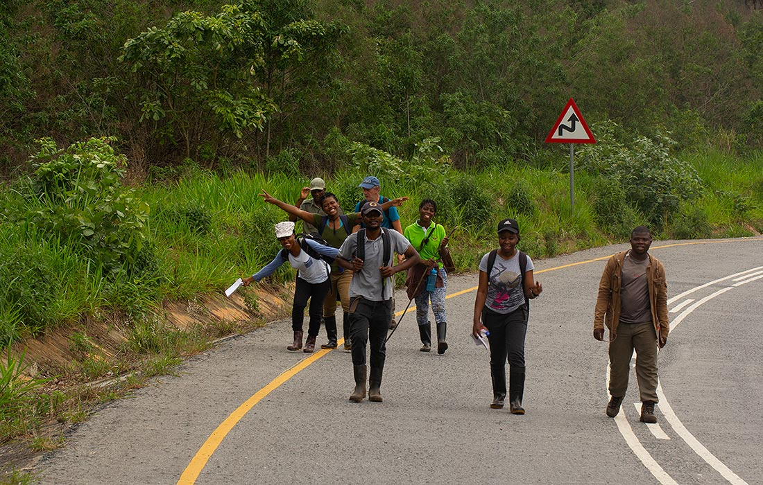 The Team returning from a day in Moribane Forest.
