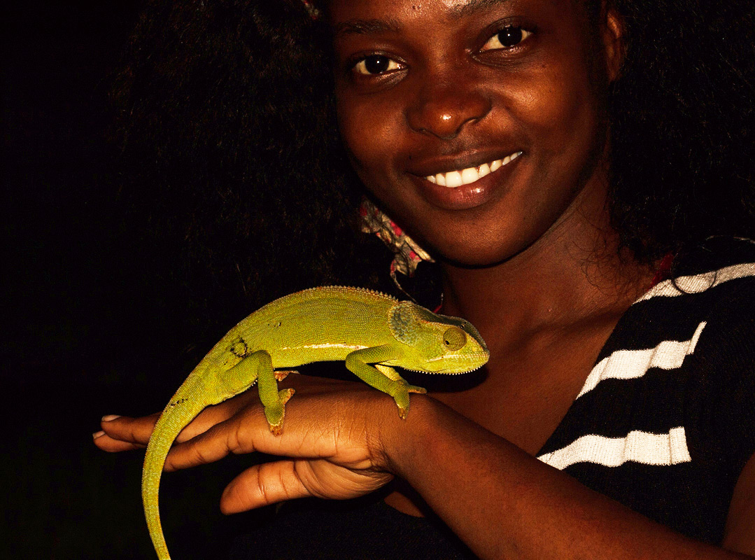 Lidia getting side-tracked into Herpetology.