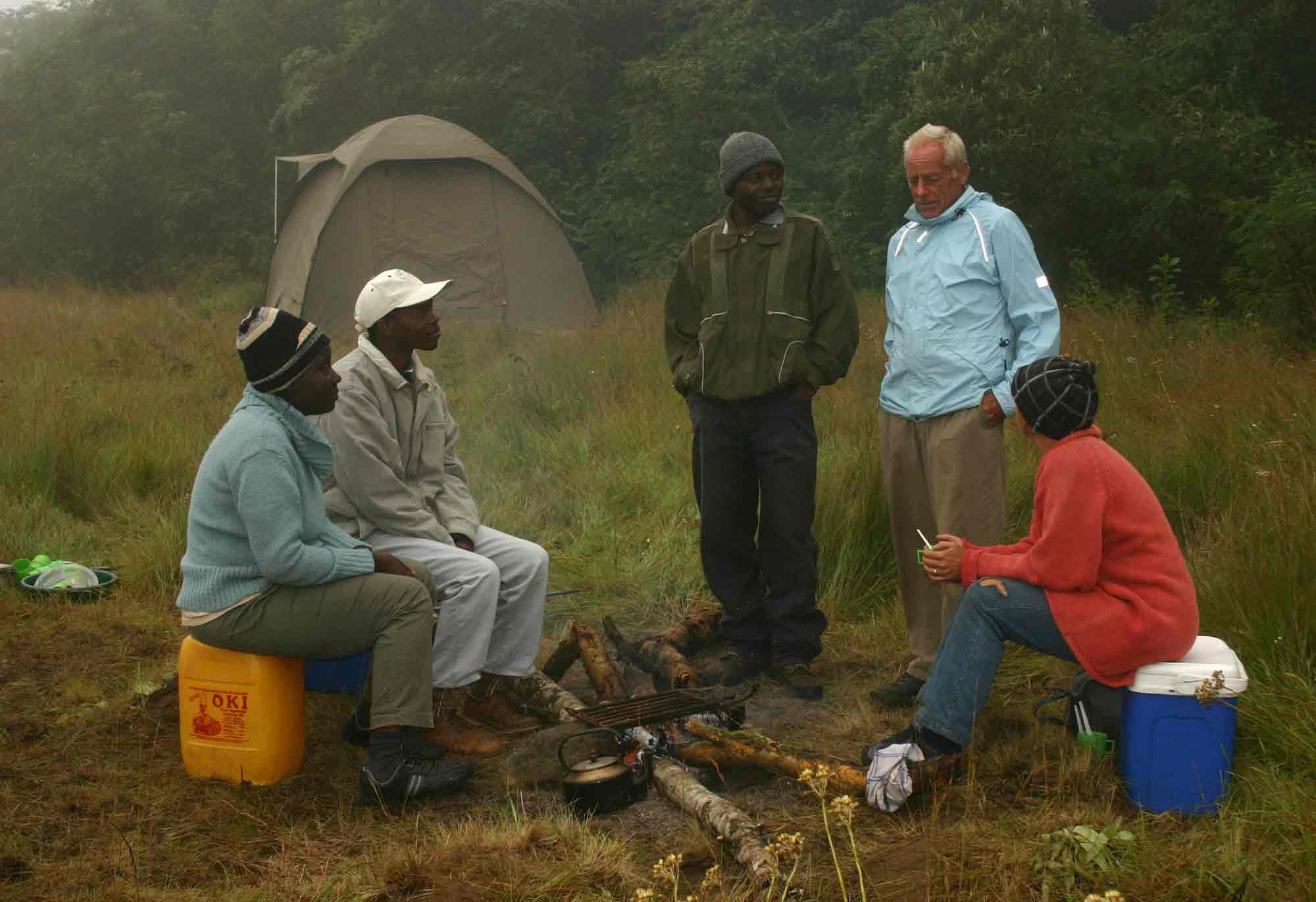 Tom Mueller and others on Mount Gorongosa, Mozambique.