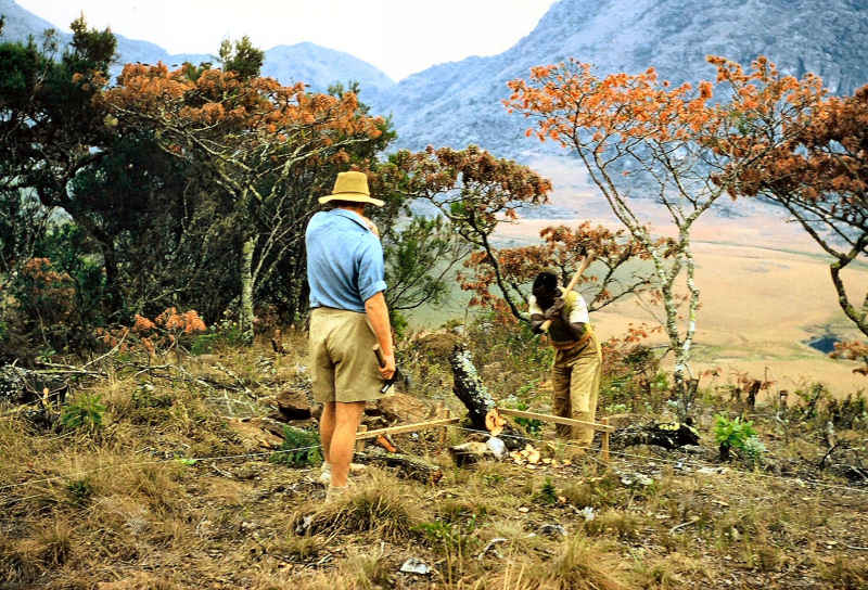 John Ball at work on the initial layout process for the Mountain Hut in Chimanimani